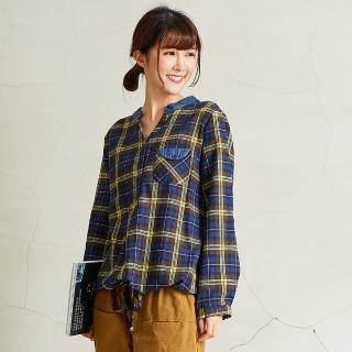 【*KatieQ 慢。生活】平織配色下襬抽繩上衣-F(藍)  *KatieQ 慢。生活