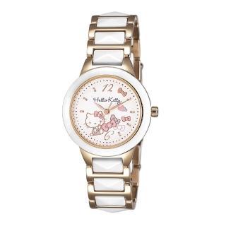 【HELLO KITTY】凱蒂貓 甜美簡約陶瓷手錶(白/白玫瑰金 LK706LRWW) 推薦  HELLO KITTY
