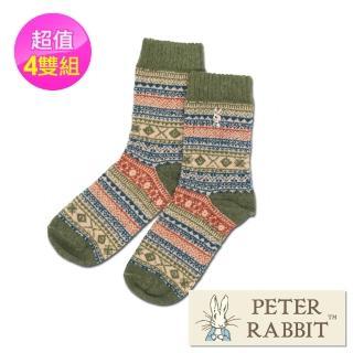 【PETER RABBIT 比得兔】兔羊毛精繡少女襪(四件組) 推薦  PETER RABBIT 比得兔