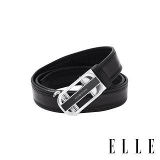 【ELLE HOMME】紳士經典設計自動釦真皮皮帶(銀色拉絲 EL307018)  ELLE HOMME