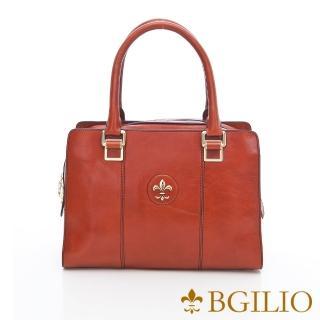 【義大利BGilio】復古牛皮方包中款-橘(1162.001-11)強力推薦  義大利BGilio