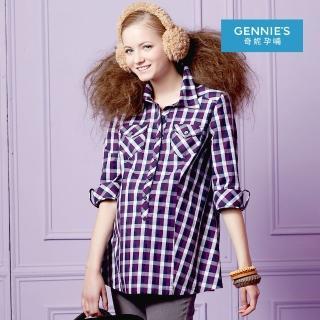 【Gennies 奇妮】英倫風格紋襯衫上衣(紅/灰G3217) 推薦  Gennies 奇妮