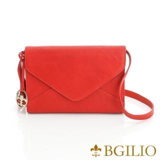 【義大利BGilio】水洗羊皮典雅信封型肩背包-紅(1950.001B-01)  義大利BGilio
