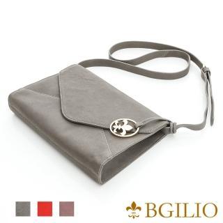 【義大利BGilio】水洗羊皮典雅信封型肩背包-灰(1950.001B-19)  義大利BGilio
