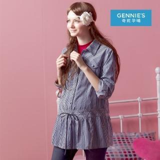 【Gennies 奇妮】學院風格紋長版上衣(藍/黑G3214)  Gennies 奇妮