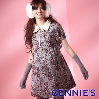 【Gennies 奇妮】典雅花卉長版上衣(灰G3222)  Gennies 奇妮