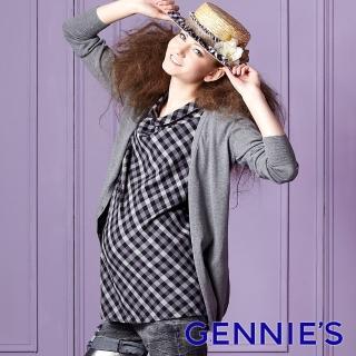 【Gennies 奇妮】經典格紋圓褶領上衣(紅/黑G3226)  Gennies 奇妮