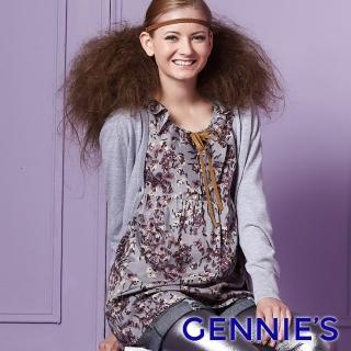 【Gennies 奇妮】飄逸印花T版上衣(灰紫G3223)  Gennies 奇妮