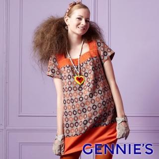 【Gennies 奇妮】淘氣普普風羊毛上衣(橘/灰G3232)  Gennies 奇妮