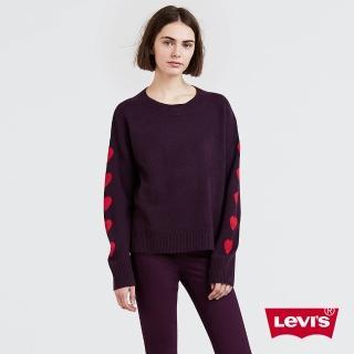 【LEVIS】女款 毛衣 / 袖子愛心 / 紫紅  LEVIS