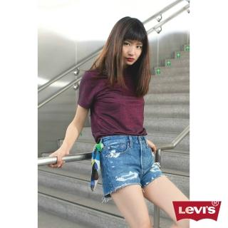 【LEVIS】女款 短袖T恤 / 金蔥 / 下擺開衩 / 酒紅 推薦  LEVIS