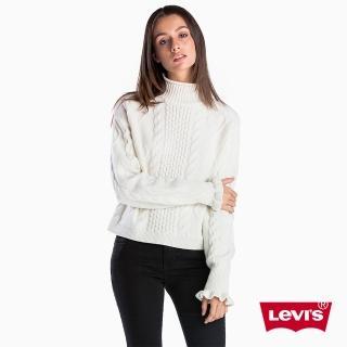 【LEVIS】女款 毛衣 / 愛心針織 / 荷葉邊袖口 / 白色  LEVIS