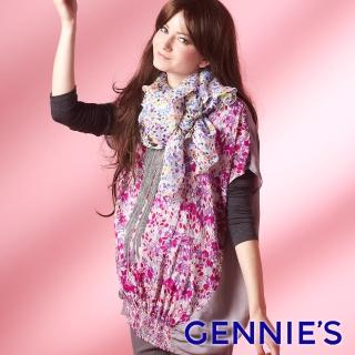 【Gennies 奇妮】復古葉葉情懷長版上衣(紅/紫G3234)  Gennies 奇妮