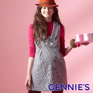 【Gennies 奇妮】甜美直條紋無袖長版上衣(灰G3227) 推薦  Gennies 奇妮