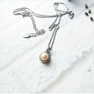 【DoriAN】手作純銀 貴氣經典高級天然淡水珍珠鑽925純銀項鍊(925純銀 頂級CZ鑽 附精美禮盒)好評推薦  DoriAN