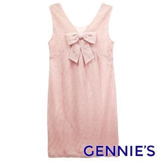 【Gennies 奇妮】V領蝴蝶結無袖洋裝(粉/膚G2229)  Gennies 奇妮