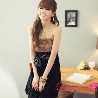 【lingling】華麗皮草拼接絨毛平口洋裝PA523(氣質濃黑)推薦折扣  lingling