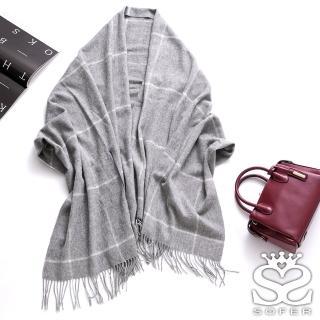 【SOFER】英倫格紋100%羊毛保暖袖口披肩/圍巾(氣質灰) 推薦  SOFER