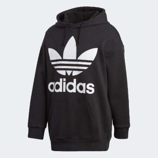 【adidas 愛迪達】帽T Trefoil Oversize 男款 愛迪達 三葉草 連帽T恤 舒適 穿搭 黑 白(CW1246)好評推薦  adidas 愛迪達