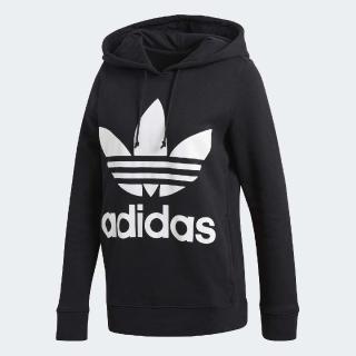 【adidas 愛迪達】帽T Trefoil Hoodie 女款 愛迪達 大LOGO 舒適 寬版 抽繩 黑 白(CE2408)強力推薦  adidas 愛迪達