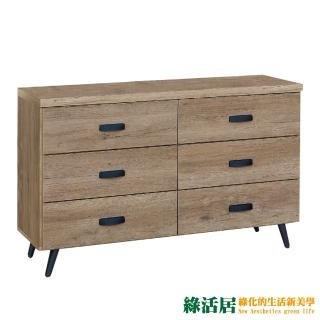 【綠活居】莉比娜 時尚4尺木紋六斗櫃/收納櫃  綠活居