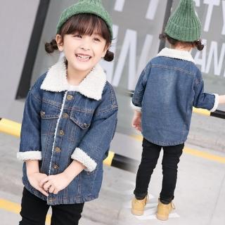 【小衣衫童裝】兒童羊羔毛翻領加厚加長版牛仔外套(1071016)  小衣衫童裝