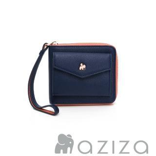 【AZIZA】拉鏈短夾(藍)好評推薦  AZIZA