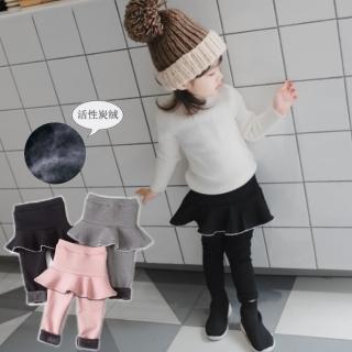 【小衣衫童裝】冬款加絨保暖波浪花邊短裙假2件長褲裙褲(1071101) 推薦  小衣衫童裝