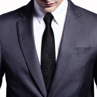 【拉福】腰果紋8CM寬版領帶手打領帶(黑色紋)  拉福