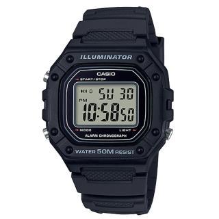 【CASIO 卡西歐】復古電子男錶 樹脂錶帶 防水50米 碼錶功能(W-218H-1A/W-218H)  CASIO 卡西歐