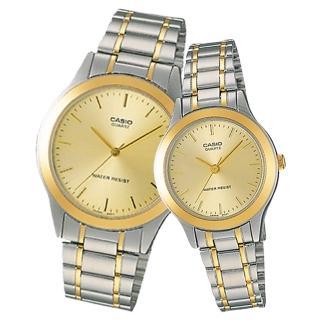 【CASIO 卡西歐】經典指針對錶 不鏽鋼錶帶 防水(MTP-1128G-9A+LTP-1128G-9A)  CASIO 卡西歐