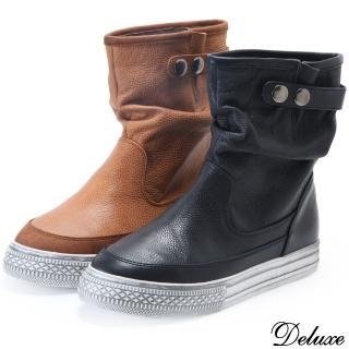 【Deluxe】少女時代英倫復古牛皮休閒短靴(咖★黑)真心推薦  Deluxe