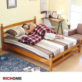 【RICHOME】京都實木5呎雙人床(胡桃木色)推薦折扣  RICHOME