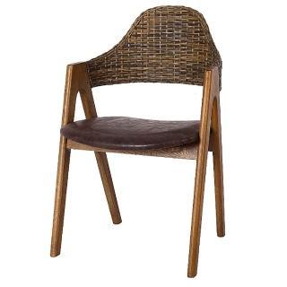 【AS】蒂娜仿古棕色皮面餐椅-52x52x80cm  AS