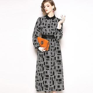 【a la mode 艾拉摩兒】翻領白袖黑線方格交錯腰封洋裝(S-XL)  a la mode 艾拉摩兒