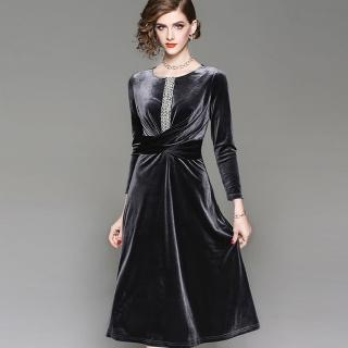 【a la mode 艾拉摩兒】閃亮珍珠中飾交叉設計絨布洋裝(中大尺碼/兩色/M-3XL)  a la mode 艾拉摩兒