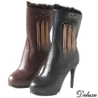 【Deluxe】全真皮鑲鑽蘋果流蘇高跟中筒靴(咖★黑) 推薦  Deluxe