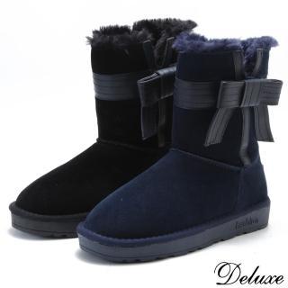 【Deluxe】甜蜜雪國蝴蝶結暖暖絨毛麂皮雪靴(黑☆藍)強力推薦  Deluxe