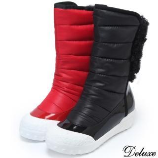 【Deluxe】混搭材質時尚個性輕柔保暖極簡內增高太空鞋(黑☆紅)  Deluxe
