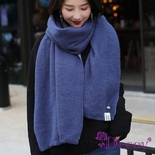【Decoy】鳳梨胸針*學院男女中性保暖圍巾/深藍  Decoy