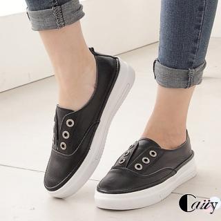 【Caiiy】V口小清新真皮休閒便鞋A282(黑色/白色)  Caiiy