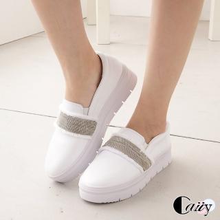 【Caiiy】真皮卯釘低調奢華真皮休閒鞋C133(黑色/白色)強力推薦  Caiiy