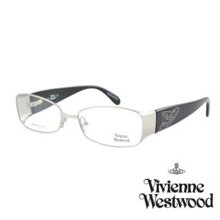 【Vivienne Westwood】光學鏡框晶鑽工業英倫風-黑銀185 01(黑銀-VW185 01)  Vivienne Westwood
