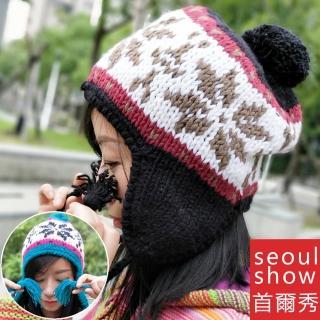 【Seoul Show首爾秀】雪花棒針編織毛線帽(防寒保暖)好評推薦  Seoul Show首爾秀