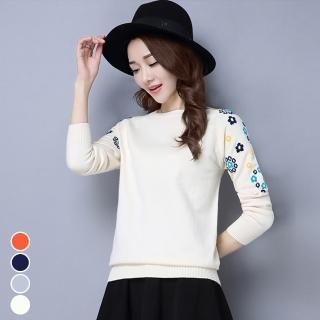 【MsMore】韓國女星氣質菊花刺繡圓領針織上衣103326#j(4色)真心推薦  MsMore