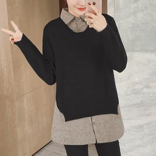 【MsMore】韓國清新佳人柔美寬鬆假兩件針織上衣103334#j(黑色)  MsMore