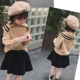 【小衣衫童裝】女童學院風大翻領鏤空長袖針織衫(1071114)強力推薦  小衣衫童裝