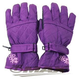 【OMAX】菱格花防潑水防寒機車手套-紫色  OMAX