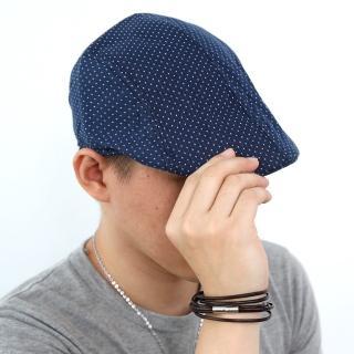 【玖飾時尚】滿版小十字深藍扁帽(鴨舌帽)  玖飾時尚