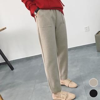 【MsMore】韓國暖冬隨性暖呢方口袋直筒保暖休閒哈倫褲103362#j(2色)強力推薦  MsMore